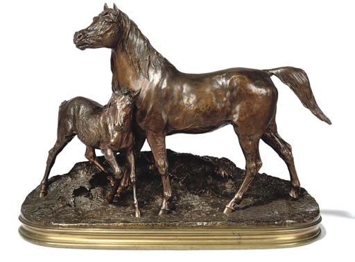 A FRENCH BRONZE EQUESTRIAN GROUP ENTITLED 'JUMENT NORMANDE ET SON POULAIN'