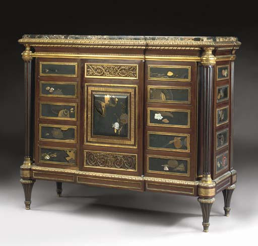 A LOUIS XVI STYLE ORMOLU-MOUNTED, MOTHER-OF-PEARL AND LACQUERED MAHOGANY SIDE-CABINET