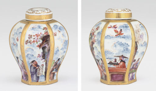 A MEISSEN CHINOISERIE HEXAGONAL TEACADDY AND COVER