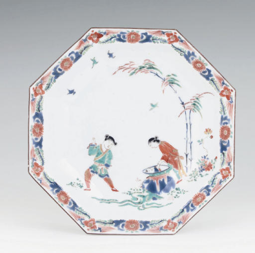 A MEISSEN KAKIEMON OCTAGONAL 'HOB IN THE WELL' DISH