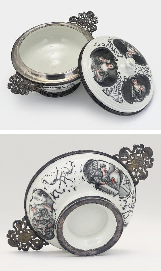 A MEISSEN SILVER-MOUNTED TWO-HANDLED ECUELLE, COVER AND STAND