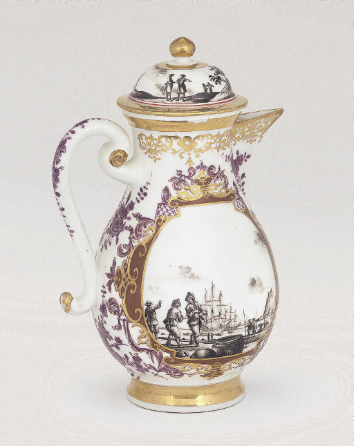 A MEISSEN BALUSTER COFFEE-POT AND DOMED COVER