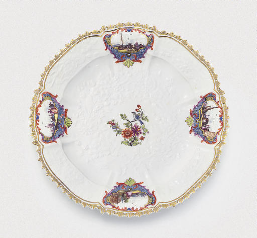 A MEISSEN SHAPED OCTAFOIL PLATE FROM THE TSARINA ELIZABETH I OF RUSSIA SERVICE