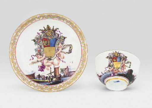 A MEISSEN ARMORIAL TEABOWL AND SAUCER FROM THE FOSCARI SERVICE