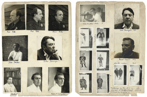 Album page with various portraits, 1950s