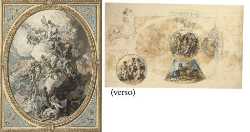 Design for the ceiling decoration of the Royal Chapel, Windsor Castle, with The Last Judgement, centre, the Evangelists Matthew and Mark, above, and the Evangelists Luke and John, below (recto); Designs for the ceiling decoration of the Royal Academy Council Chamber at Somerset House, showing The Graces unveiling Nature, surrounded with Allegories of the Four Elements (verso)