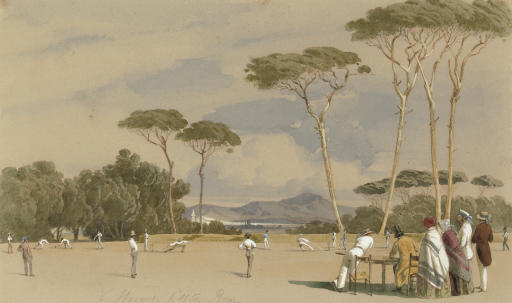 Grand cricket match in Rome, at the Doria Pamphili Villa, between Eton and the rest of the world