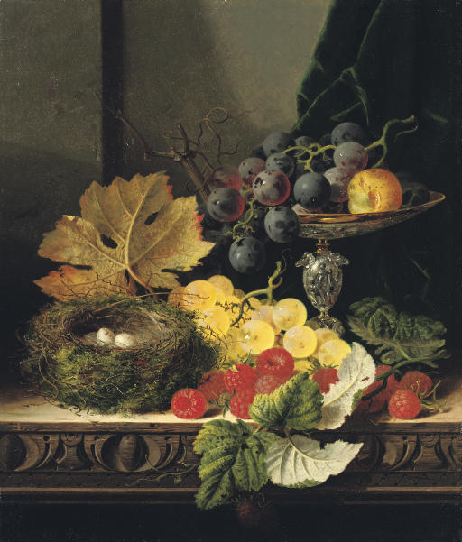 Still life with a bird's nest, black and white grapes, a greengage in a tazza, and some raspberries, on a wooden ledge