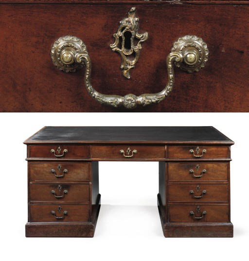 A George III mahogany pedestal desk. Attributed to Thomas Chippendale, circa 1770. Sold for £96,000 in November 2007 at Christie's London. The pedestal desk is of a pattern associated with the 'Library Table' supplied to William Crichton-Dalrymple, 5th Earl of Dumfries (1699-1768), for Dumfries House, Ayrshire, by Thomas Chippendale