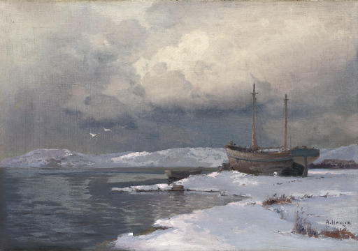 A winter landscape with a two-masted boat