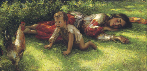 A gypsy with a cockerel and baby