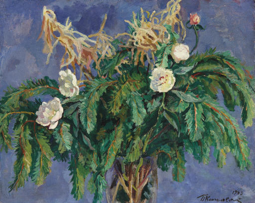 Still life with peonies and pine branches