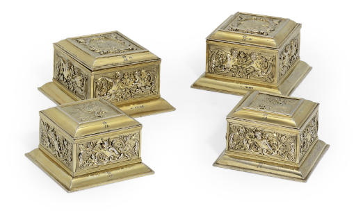 LOUISA, VISCOUNTESS BERESFORD'S TOILET SERVICE A SET OF FOUR GEORGE IV SILVER-GILT DRESSING TABLE-BOXES