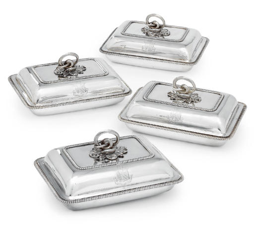 A SET OF FOUR GEORGE III SILVER ENTRÉE DISHES AND COVERS