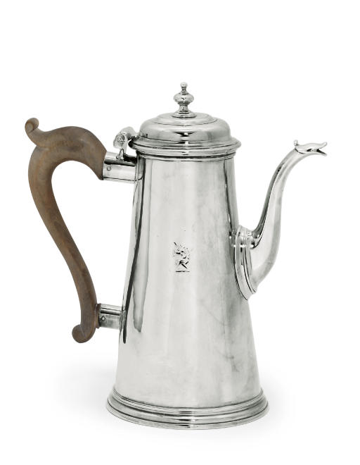 A GEORGE I SILVER COFFEE-POT