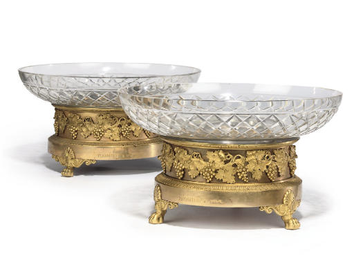 A PAIR OF EMPIRE ORMOLU AND CUT-GLASS TAZZE