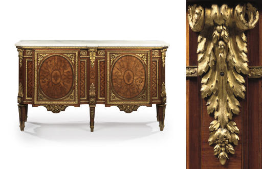 A LOUIS XVI ORMOLU-MOUNTED, TULIPWOOD, AMARANTH AND MARQUETRY COMMODE A VANTAUX