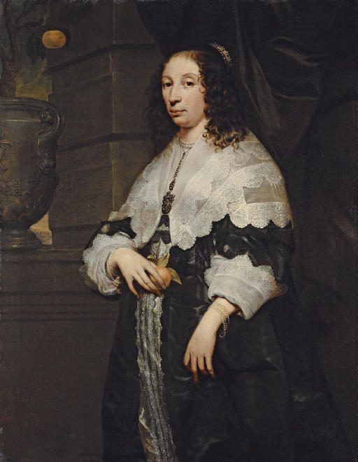 Portrait of a lady, three-quarter-length, in a black dress and a lace collar, holding an orange
