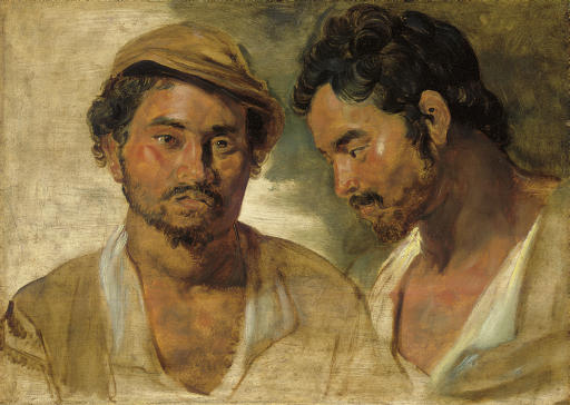 Two studies of a man, head and shoulders