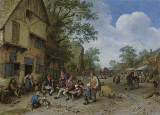 A village street with a hurdy-gurdy player and a violinist playing outside a tavern