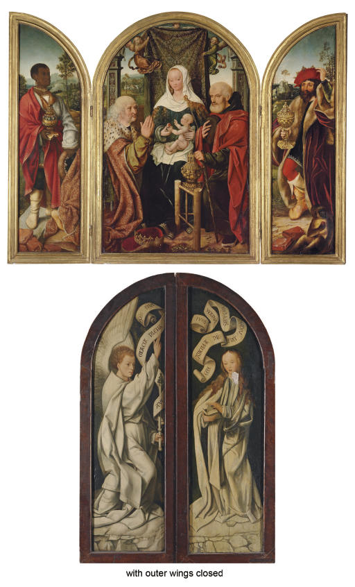 The Adoration of the Magi: a triptych; outer faces: The Annunciation