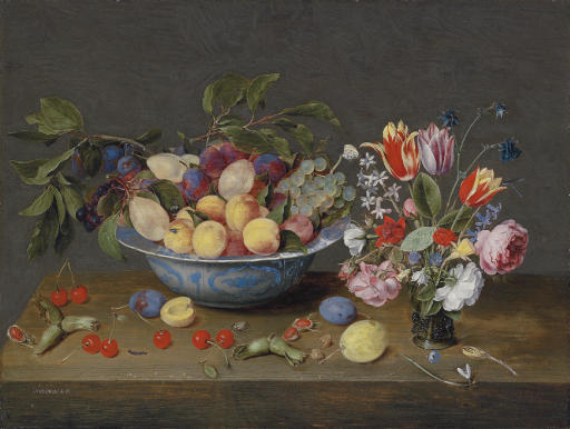 Apricots, plums and grapes in a bowl and strewn on a ledge, with a vase of flowers