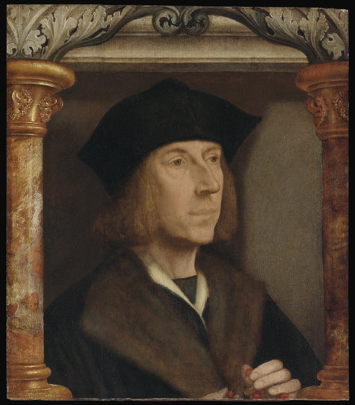 Portrait of gentleman, bust-length, in a fur-lined coat, telling a rosary, set in an architectural surround