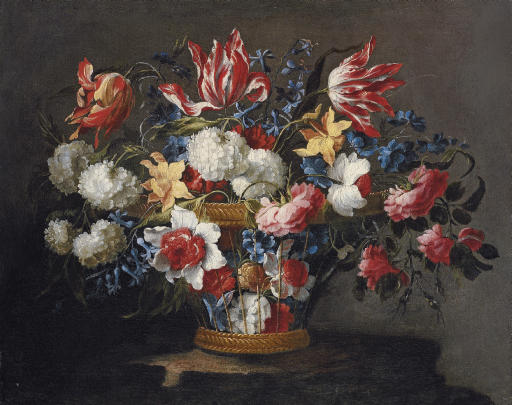 Snowballs, daffodils, tulips, roses and other flowers in a wicker basket on a ledge