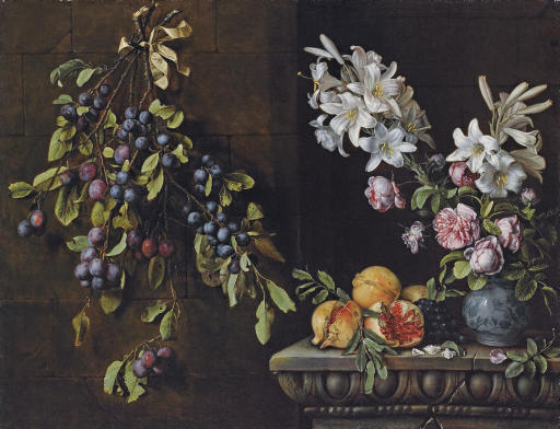 Branches of plums tied with a ribbon and suspended from a nail, with lilies and roses in a blue and white porcelain vase, on a sculpted ledge with pomegranates and grapes
