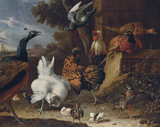 A cockerel, hens, chicks, a partridge, pheasants, a peacock and a pigeon by a wall in the park of a mansion