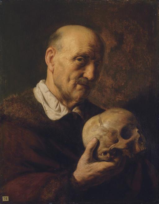 vanitas: An old man, half-length, in a fur-lined coat, holding a skull