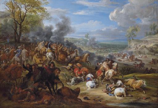 French troops in battle in an extensive landscape
