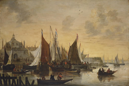 View of the Oude Hoofdpoort, Rotterdam, with sportsmen shooting duck in the foreground