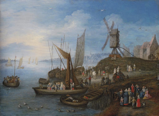 Sailing boats and a windmill at a port