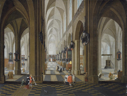 A church interior with elegant company in the nave and aisle