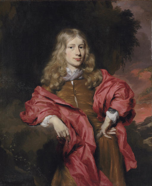 Portrait of gentlemen, three-quarter length, in a brown tunic with a red cloak in a wooded landscape, at sunset