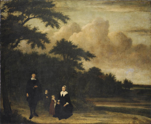 Group portrait of a gentleman and a lady with their children in an extensive wooded landscape