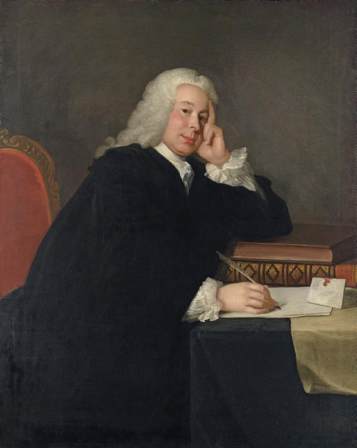 Portrait of Nicholas Hardinge, M.P. (1699-1758), three-quarter-length, in a black mantle, seated at his desk, a quill in his right hand