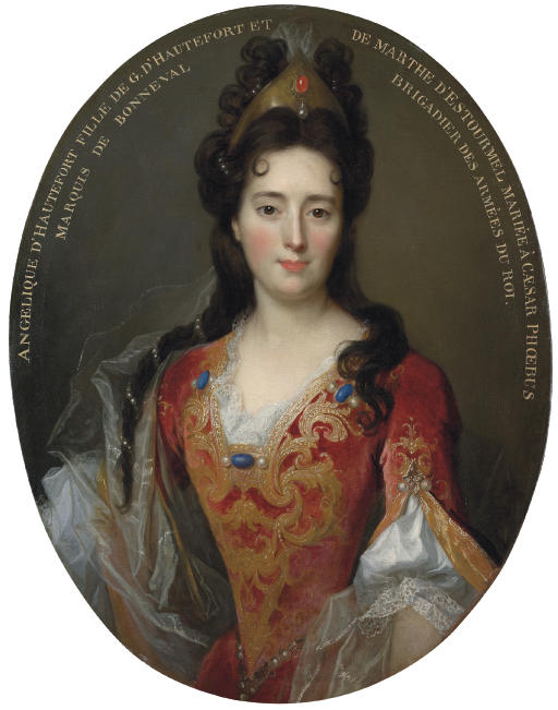 Portrait of Angélique d'Hautefort, half-length, in a red and gold embroidered bodice and skirt