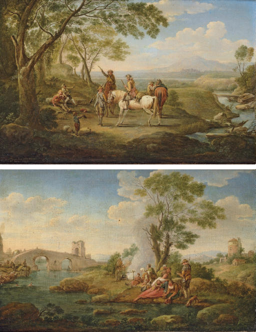 A river landscape with huntsmen resting by a stream; and A river landscape with pilgrims resting by a stream