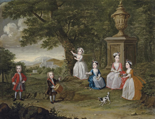 Group portrait of children, possibly the children of Don Francisco Lopes Suasso, in a garden landscape with a pet dog