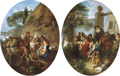 Peasants eating and drinking by a cottage; and A hunting party resting in a wooded landscape