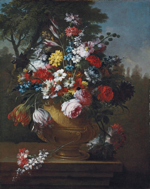 Roses, tulips, carnations, chrysanthemums and other flowers in a classical urn, on a ledge