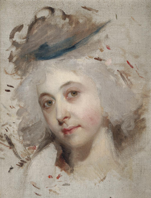 Portrait head of a lady, unfinished