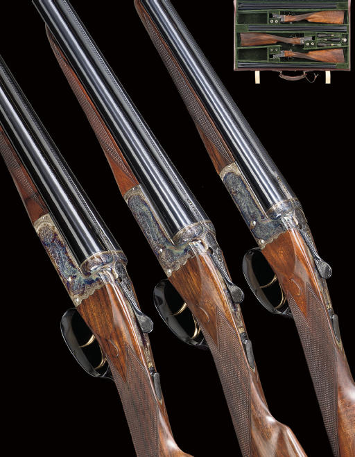 "A FINE AND EXCEPTIONAL SET OF THREE ""REGAL XXV"" MODEL BOXLOCK EJECTOR GUNS BY CHURCHILL, COMPRISING A 20-BORE, A 28-BORE AND A .410, NOS. 23813/4/5"