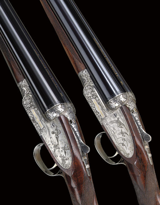 A FINE PAIR OF KEN HUNT ENGRAVED 12-BORE SINGLE-TRIGGER SELF-OPENING SIDELOCK EJECTOR GUNS BY J. PURDEY & SONS, NOS. 28145/6