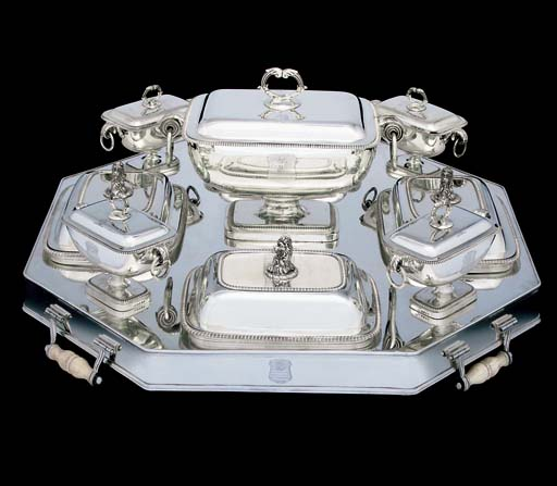A GEORGE III NINE-PIECE SILVER SUPPER SET ON AN OLD SHEFFIELD PLATE STAND