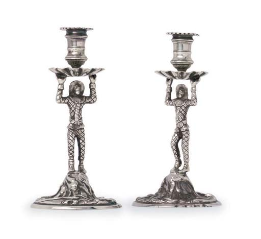 A PAIR OF GEORGE II SILVER TAPERSTICKS