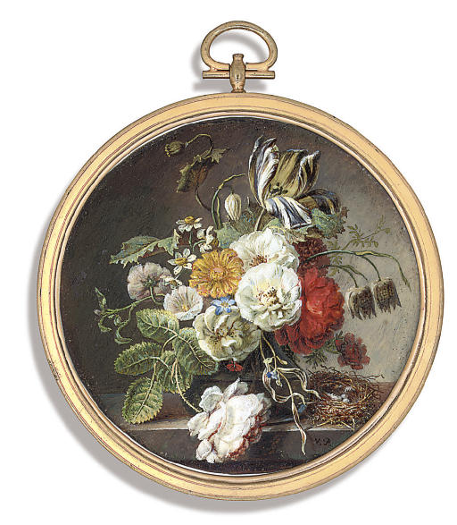 A fine still-life of flowers on a stone ledge including roses, a parrot tulip, convolvulus, a poppy, wild strawberry flowers and fritilla and bluebell in a vase beside a nest with two pale grey eggs and a feather