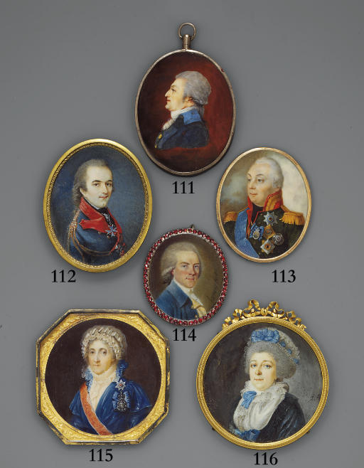 Count Zubov, in blue coat with red collar and lapels, gold aiguillette, powdered hair en queue, wearing the badges of the Imperial Russian Orders of St. George (4th class) and St. Vladimir (4th class), and the cross of the Royal Prussian Order 'Pour le Mérite'